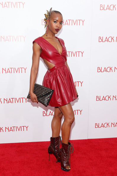 Marija Abney Studded Clutch [black nativity,clothing,fashion model,footwear,dress,cocktail dress,carpet,hairstyle,red carpet,fashion,shoulder,arrivals,marija abney,new york,the apollo theater,premiere]