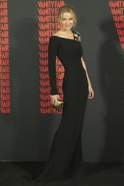 Striking a stunning pose at the Vanity Fair Man of the Year Awards, Maria Leon looked flawless in this sweeping black evening gown.