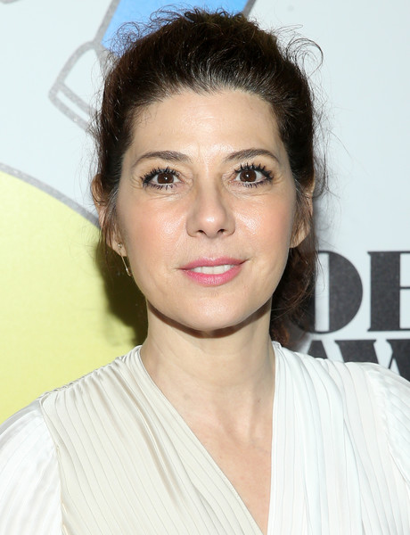 Marisa Tomei Ponytail [hair,face,eyebrow,hairstyle,lip,chin,forehead,beauty,skin,eye,arrivals,marisa tomei,obie awards,webster hall,new york city]