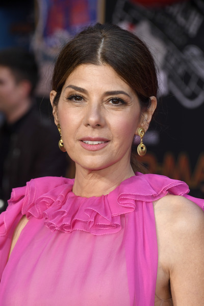 Marisa Tomei Ponytail [hair,hairstyle,pink,eyebrow,beauty,chin,lady,cheek,lip,premiere,arrivals,marisa tomei,spider-man far from home,tcl chinese theatre,california,hollywood,sony pictures,premiere,premiere]