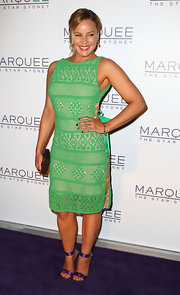 Abbie Cornish paired strappy purple satin sandals with her vivid green dress at the opening of Marquee at the Star in Sydney.