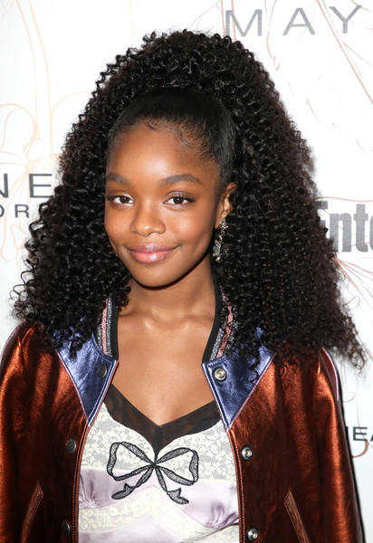 Marsai Martin Ponytail [hair,hairstyle,jheri curl,black hair,long hair,human,forehead,s-curl,ringlet,lace wig,nominees,marsai martin,screen actors guild awards,california,los angeles,chateau marmont,new york,entertainment weekly hosts celebration,maybelline,nominees celebration]