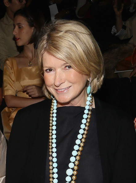 Martha Stewart Bob [hair,blond,hairstyle,pearl,fashion accessory,bob cut,jewellery,event,necklace,layered hair,ralph rucci,martha stewart,front row,lincoln center,new york city,the theatre,mercedes-benz fashion week,fashion show]