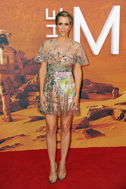 Kristen Wiig looked downright darling at the European premiere of 'The Martian' in a Valentino mini dress featuring colorful, whimsical embroidery.
