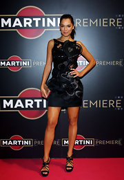 Giorgia Surina was a heart attack with her heart embellished mini dress.