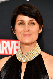 Carrie-Anne Moss sported a simple side-parted 'do at the New York premiere of 'The Defenders.'