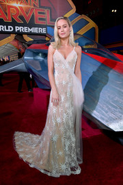 Brie Larson looked mesmerizing in a starburst-beaded gown by Rodarte at the premiere of 'Captain Marvel.'