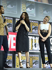 Rachel Weisz kept it simple in a black shirtdress at Comic-Con International 2019.