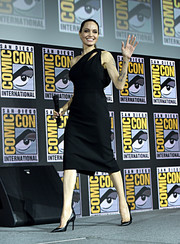 Angelina Jolie made an appearance at Comic-Con International 2019 wearing a one-shoulder cutout LBD by Saint Laurent.