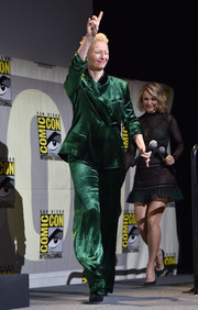 Tilda Swinton looked cool in a green velvet pantsuit by Haider Ackermann at the Marvel Studios panel during Comic-Con.