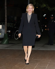 Diane Sawyer was appropriately dressed in a simple black skirt suit and gray blouse for Marvin Hamlisch's memorial service.
