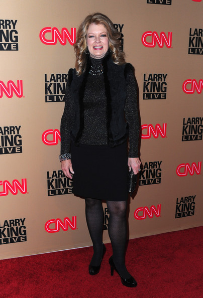 Mary Hart Pumps [larry king live,clothing,carpet,little black dress,tights,footwear,fashion,joint,outerwear,flooring,dress,mary hart,larry king,arrivals,restaurant,beverly hills,cnn,final,broadcast party,broadcast party]
