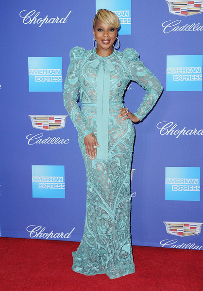 Mary J. Blige Embroidered Dress [red carpet,carpet,clothing,dress,flooring,gown,sleeve,fashion design,premiere,formal wear,arrivals,mary j. blige,palm springs convention center,california,palm springs international film festival film awards gala,palm springs international film festival awards gala]
