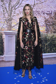 Emily Blunt looked regal in a caped, floral-embroidered dress by Zuhair Murad Couture at the Paris gala screening of 'Mary Poppins Returns.'