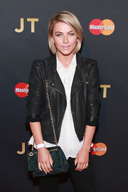 Julianne Hough watched Justin Timberlake's concert looking chic in this leather jacket and chain-strap bag combo.