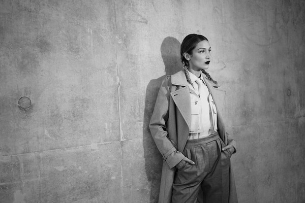 More Pics of Bella Hadid Button Down Shirt (4 of 11) - Bella Hadid Lookbook - StyleBistro [image,photograph,standing,snapshot,photography,black-and-white,suit,portrait,monochrome,style,trench coat,max mara - backstage,bella hadid,milan,italy,max mara,milan fashion week,fashion show,milan fashion week spring]