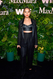 Alexandra Shipp opted for this black jacket and high-waisted pants combo when she attended the Max Mara WIF Face of the Future event.