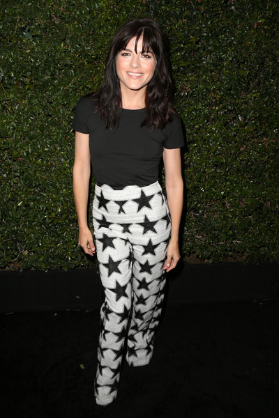 Selma Blair went for a punchy finish with black-and-white star-print pants, also by Max Mara.