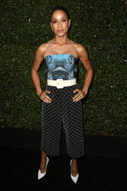 Dania Ramirez attended the Max Mara Face of the Future event wearing a VONE jumpsuit featuring an abstract-print bodice and diamond-patterned pants.