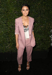 Emmanuelle Chriqui opted for a pink Max Mara pantsuit when she attended the Face of the Future event.