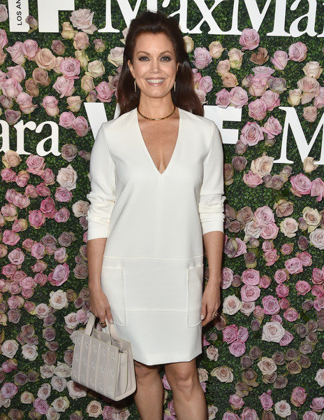 More Pics of Bellamy Young Long Wavy Cut (1 of 5) - Long Hairstyles Lookbook - StyleBistro [max mara celebrates zoey deutch,the 2017 women in film max mara face of the future,bellamy young,clothing,dress,cocktail dress,pink,fashion,neck,sheath dress,premiere,event,formal wear,chateau marmont,california,los angeles,max mara]