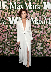 Lana Parrilla cut a sophisticated figure in a white maxi shirtdress, which she wore unbuttoned down to her navel, at the 2017 Face of the Future event.