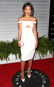 Liz Hernandez sizzled at the Maxim Hot 100 event in a white off-the-shoulder dress with a cleavage-baring cutout.
