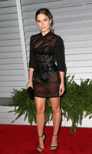 Sophia Bush flashed some undies in a see-through black mini dress by Fleur du Mal during the Maxim Hot 100 event.
