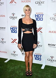 Kellie's black strappy cutout dress showed off her toned figure at the Maxim Hot 100 party.