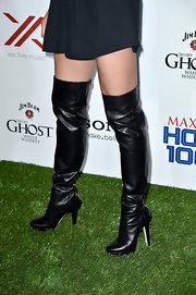 Jill Wagner showed off her long legs with these over-the-knee leather boots.