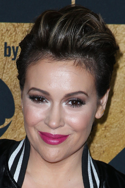 Alyssa Milano went punk with this fauxhawk at the 2016 Super Bowl party.
