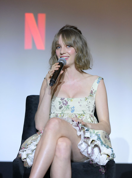 Maya Hawke Baby Doll Dress [stranger things,performance,singing,lady,leg,thigh,sitting,singer,fashion,human body,event,maya hawke,q a,west hollywood,california,pacific design center,netflix,reception,maya hawke,stranger things,netflix,los angeles,screen actors guild awards,photograph,actor,image,millie bobby brown]