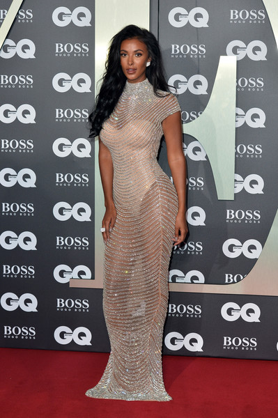 Maya Jama Sheer Dress [red carpet,carpet,clothing,dress,shoulder,premiere,fashion model,fashion,flooring,joint,red carpet arrivals,maya jama,gq men of the year awards,england,london,tate modern]