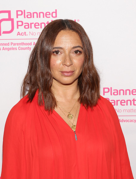 Maya Rudolph Medium Wavy Cut [hair,face,hairstyle,lip,beauty,pink,hair coloring,premiere,long hair,layered hair,maya rudolph,politics,sex,cocktails,california,los angeles,planned parenthood advocacy project la county,fundraiser]