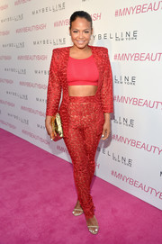 Christina Milian's embroidered red jacket and pants ensemble was a sexy way to suit up (especially when teamed with that crop-top).