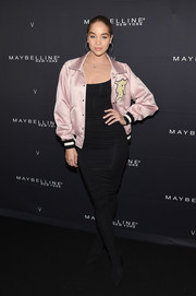 Jasmine Sanders sheathed her curves in a body-con LBD for the Maybelline x V Magazine party.