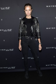 Josephine Skriver toughened up in a studded black leather jacket for the Maybelline x V Magazine party.