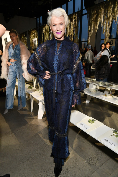 Maye Musk Loose Blouse [shows,the shows,clothing,fashion,denim,jeans,textile,haute couture,electric blue,fashion design,street fashion,jonathan simkhai,maye musk,front row,gallery i,new york city,spring studios,new york fashion week,fashion show]