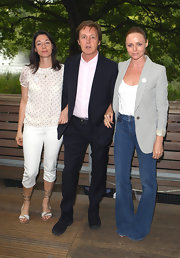 Flanking her father with sister Stella, Mary McCartney was a picture of summery-chic in her fresh white capri pants.