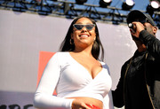 Jordyn Woods rocked a pair of cateye sunnies at the Bleacher Report All-Star Experience.