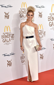 Aneta Sablik attended the McDonald's Charity Gala wearing a structured white strapless gown.