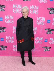 Glenn Close donned a black coat with floral sequin accents for the Broadway opening of 'Mean Girls.'