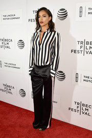 Megalyn Echikunwoke was androgynous-chic in a black-and-white striped button-down at the Tribeca Film Fest premiere of 'The Meddler.'
