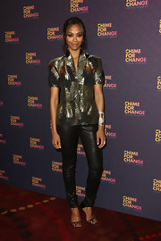 Zoe Saldana wore this leaf-print short-sleeve jacket  and cool leather pants at the 'Chime for Change: The Sound of Change Live' Concert.