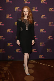 Jessica Chastain stunned in an updated version of the LBD when she wore this long-sleeve dress that featured a stylish lace yoke.