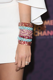 Blake Lively piled on a variety of colorful gemstone bangles at the 'Chime For Change: The Sound of Change Live' Concert.