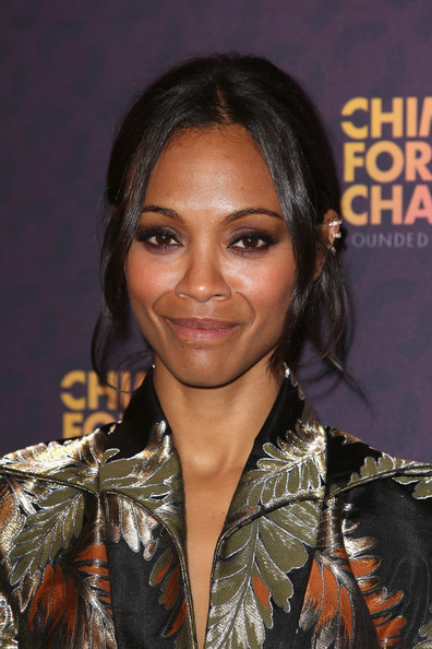 A barely there lip kept Zoe Saldana's look soft and pretty.