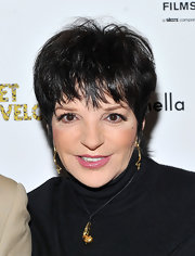 Liza Minnelli attended the NYC premiere of 'Meet Monica Velour' wearing gold jewelry featuring a pendant necklace.