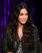 Megan Fox wore a fun and sexy bubble-gum pink lipstick during an appearance on 'No 1 Countdown.'