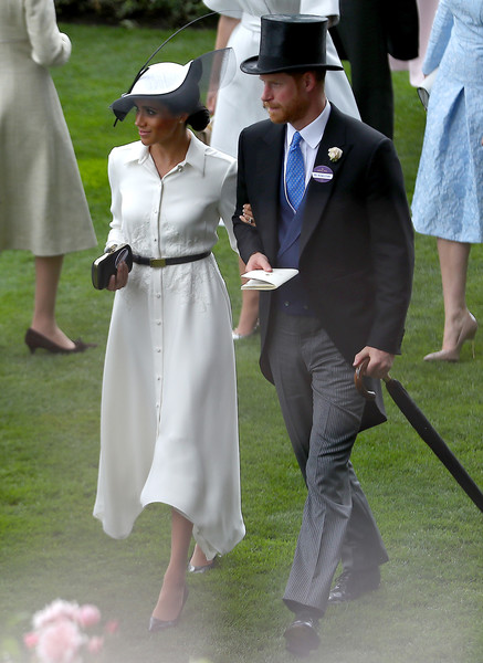Meghan Markle Shirtdress [white,woman,suit,dress,lady,formal wear,headgear,girl,standing,gown,harry,meghan markle,family,ascot,sussex,duchess,ascot racecourse,england,duke of sussex,wedding,prince harry,ascot racecourse,meghan duchess of sussex,wedding of prince harry and meghan markle,2018 royal ascot,british royal family,duke of sussex,family of meghan duchess of sussex,ascot]